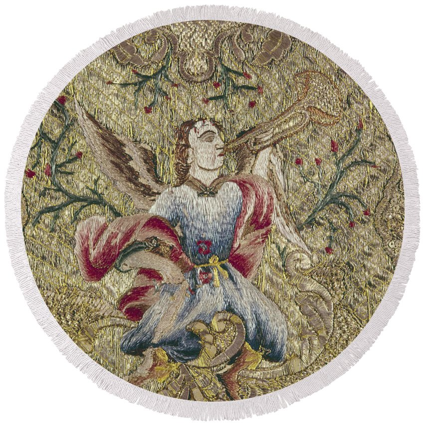 18th Century Round Beach Towel featuring the painting Chasuble, 18th Century by Granger