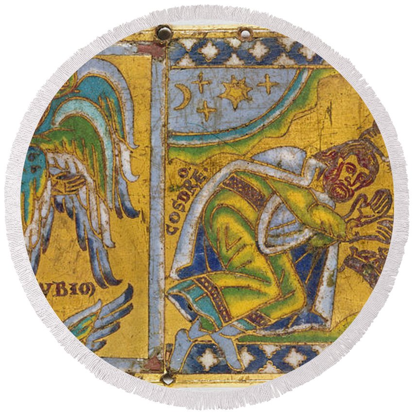 13th Century Round Beach Towel featuring the painting Heraclius (c575-641 A.d.) by Granger