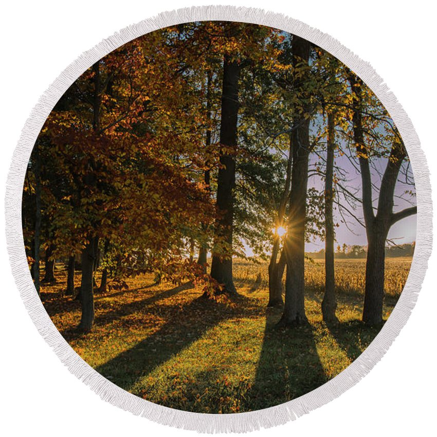 Barn Round Beach Towel featuring the photograph 01l Morning Has Broken by Dennis R Bean