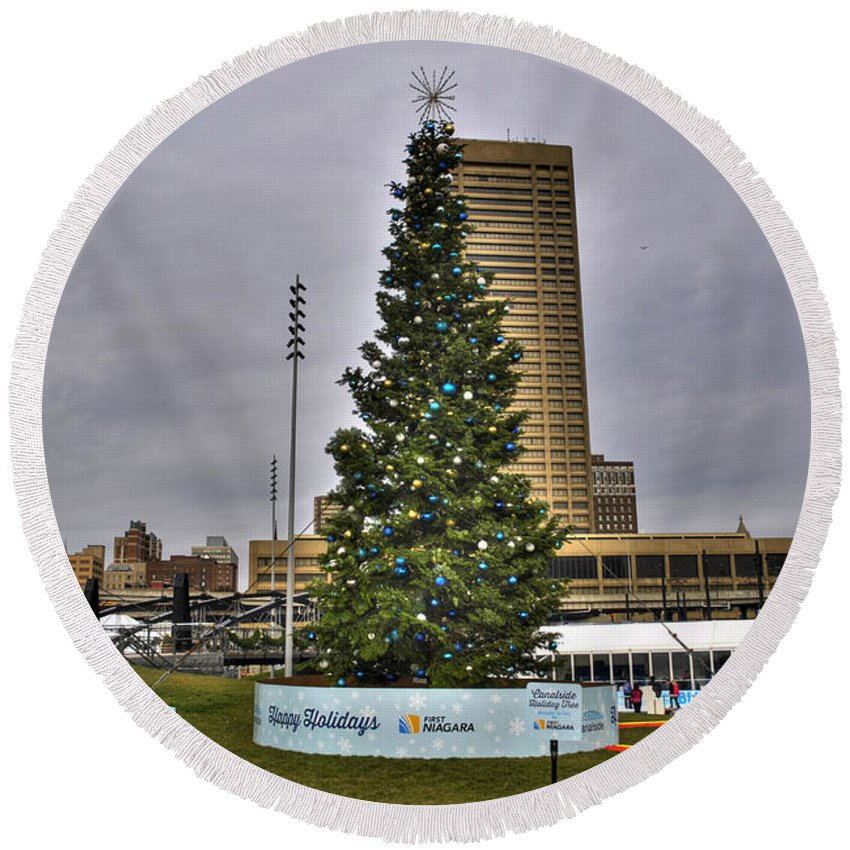Buffalo Ny Round Beach Towel featuring the photograph 02 Happy Holidays From First Niagara by Michael Frank Jr