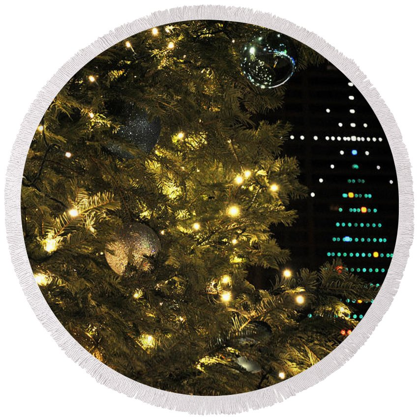 Buffalo Ny Round Beach Towel featuring the photograph 02 Xmas Trees At Canalside And Seneca One Tower Dec2015 by Michael Frank Jr