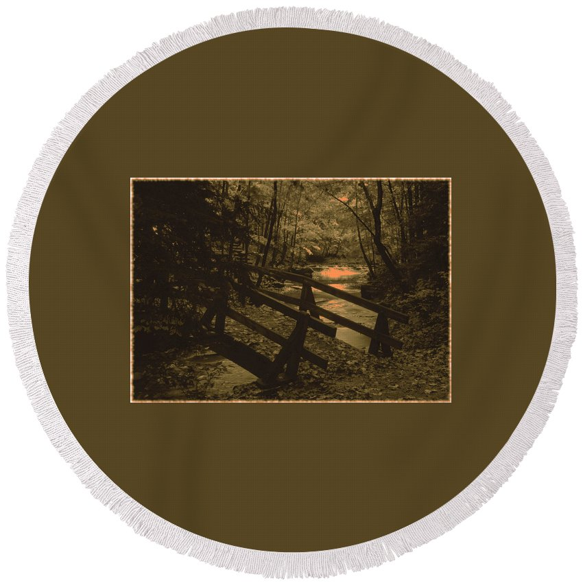 Bridge Round Beach Towel featuring the photograph 031207-21-s by Mike Davis