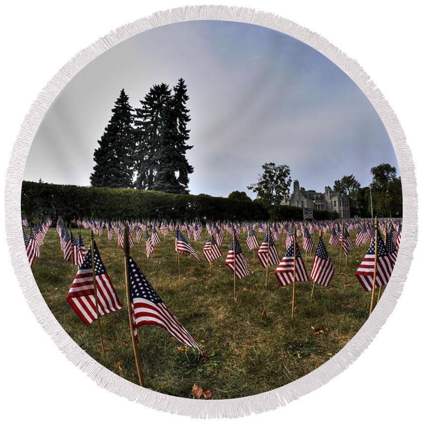 Buffalo Round Beach Towel featuring the photograph 04 Flags For Fallen Soldiers Of Sep 11 by Michael Frank Jr