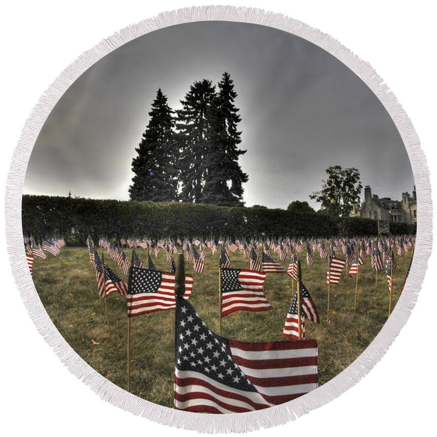 Buffalo Round Beach Towel featuring the photograph 05 Flags For Fallen Soldiers Of Sep 11 by Michael Frank Jr