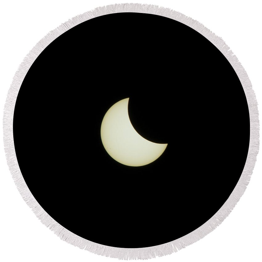 Round Beach Towel featuring the photograph #06 August 2017 Solar Eclipse by John Diebolt