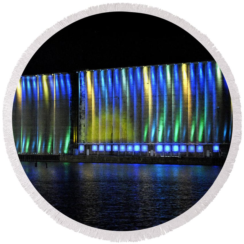 Buffalo Ny Round Beach Towel featuring the photograph 06 Grain Elevators Light Show 2015 by Michael Frank Jr