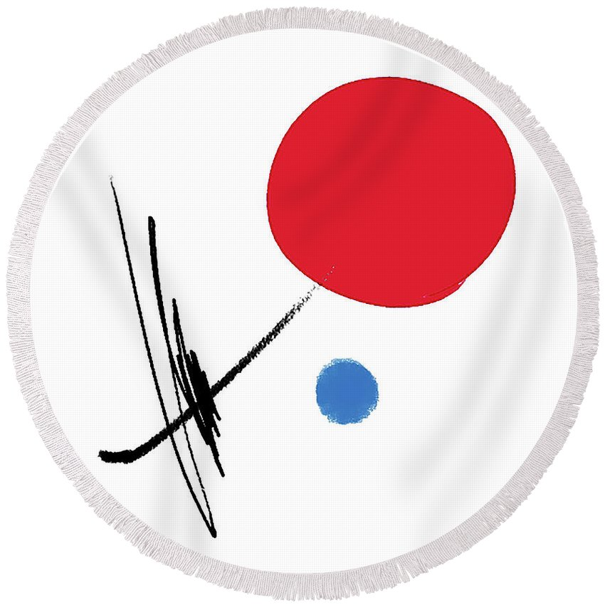 Painting Round Beach Towel featuring the painting 070227ba by Toshio Sugawara