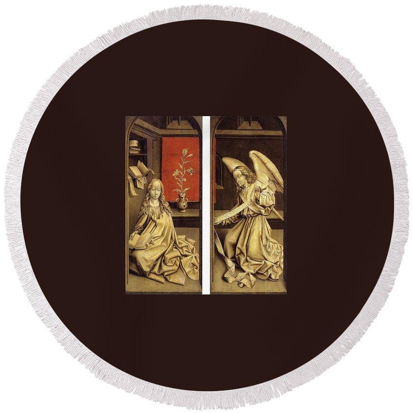 Sculpture Round Beach Towel featuring the digital art 07464 Rogier Van Der Weyden by Eloisa Mannion