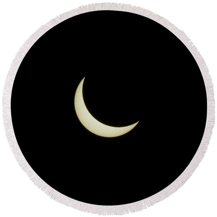Round Beach Towel featuring the photograph #09 August 2017 Solar Eclipse by John Diebolt