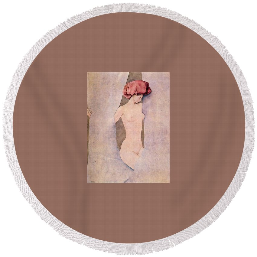 Sketch Round Beach Towel featuring the digital art 17246 Montserrat Gudiol by Eloisa Mannion