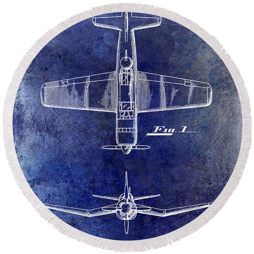 1946 Airplane Patent Round Beach Towel featuring the photograph 1946 Airplane Patent by Jon Neidert