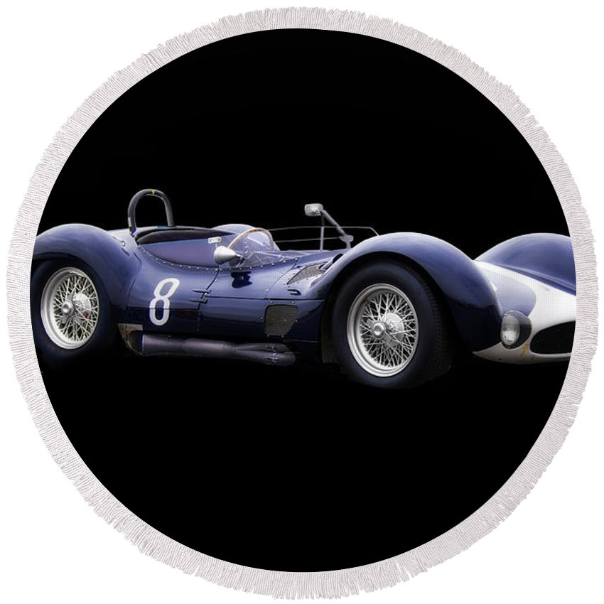 Auto Round Beach Towel featuring the photograph 1960 Maserati T61 Racecar by Dave Koontz