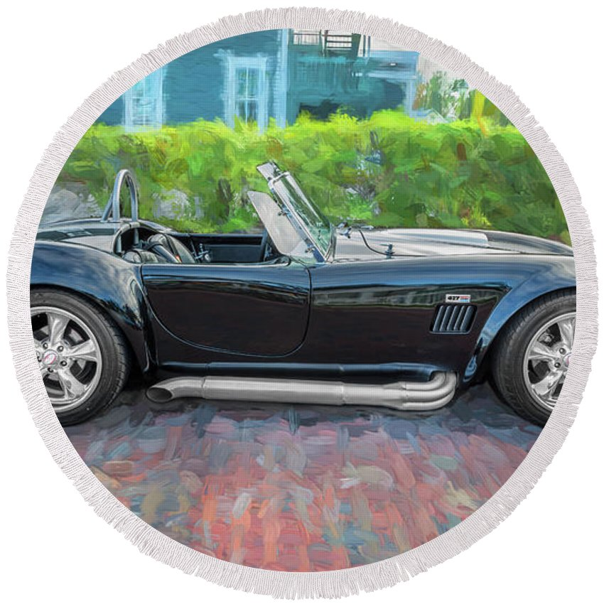 1965 Ford Ac Cobra Round Beach Towel featuring the photograph 1965 Ford Ac Cobra Painted  by Rich Franco
