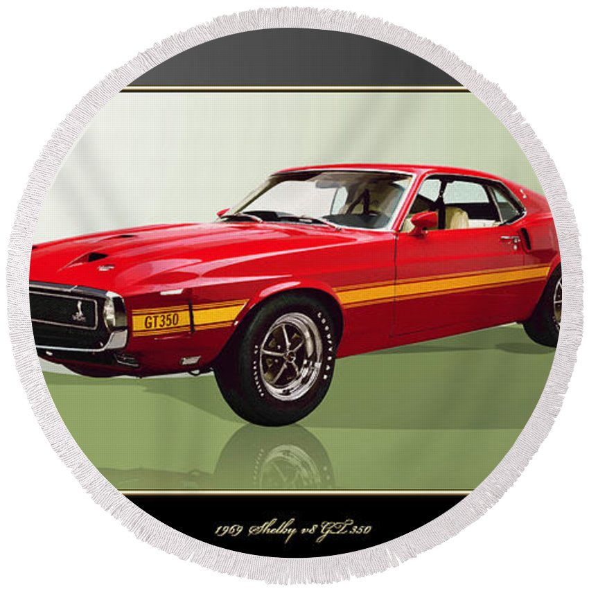 Wheels Of Fortune By Serge Averbukh Round Beach Towel featuring the photograph 1969 Shelby v8 GT350 by Serge Averbukh