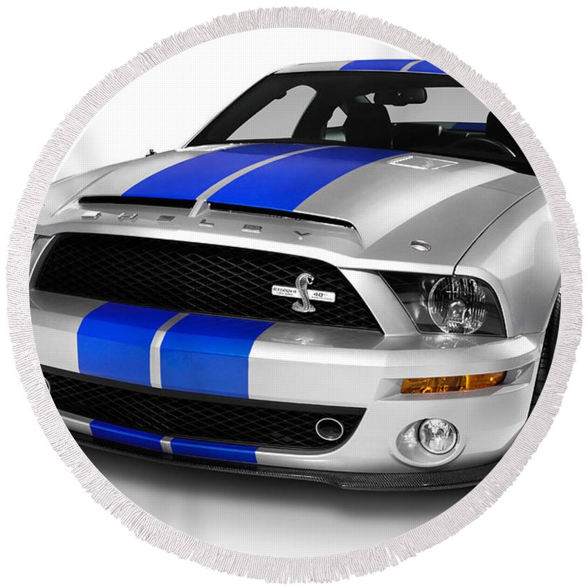 Ford Round Beach Towel featuring the photograph 2008 Shelby Ford Gt500kr by Maxim Images Prints