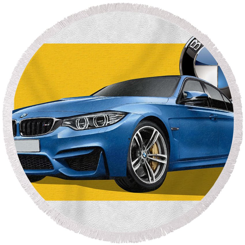 �bmw� Collection By Serge Averbukh Round Beach Towel featuring the photograph 2016 B M W M 3 Sedan with 3 D Badge by Serge Averbukh