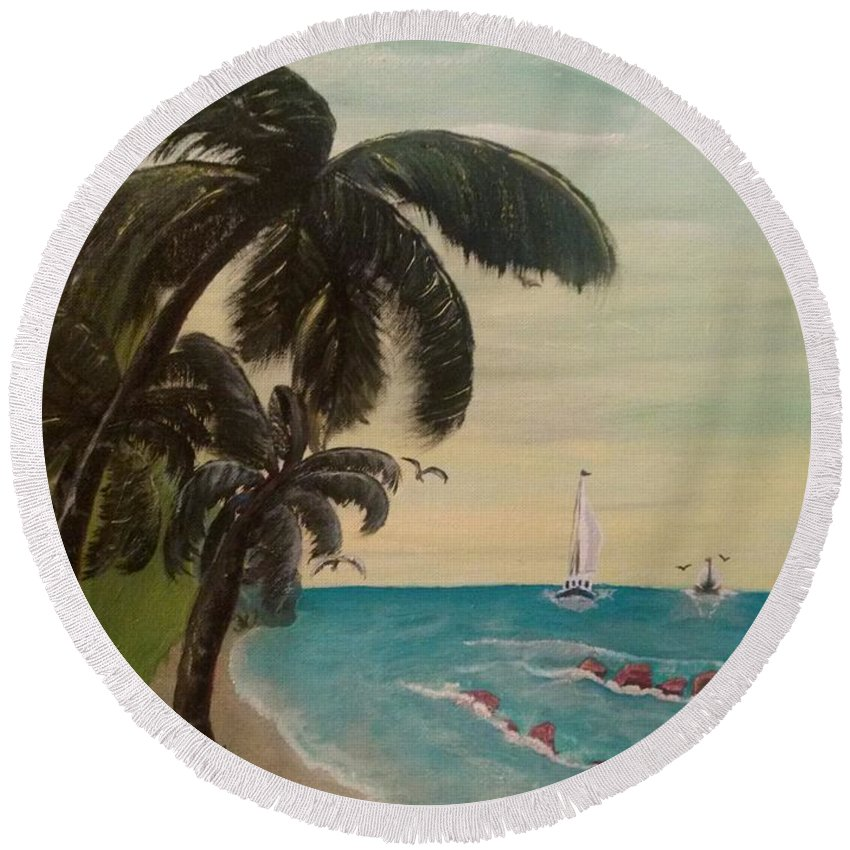 Palm Trees Round Beach Towel featuring the painting 3 Palms by Denise Fletcher