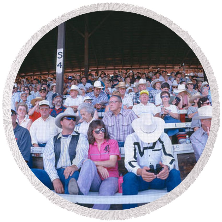 Photography Round Beach Towel featuring the photograph 75th Ellensburg Rodeo, Labor Day by Panoramic Images