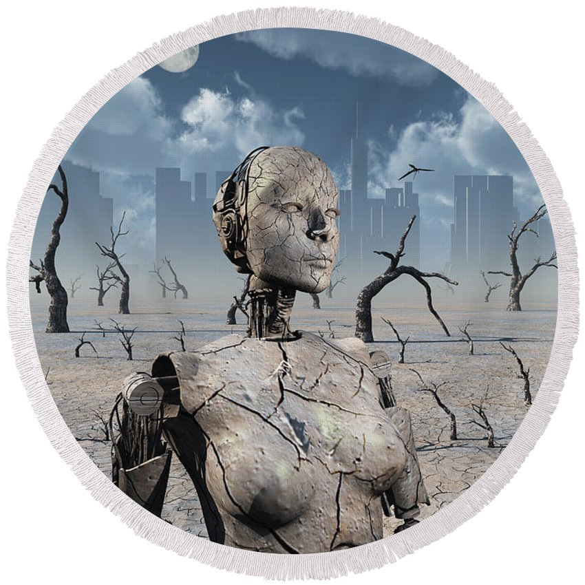 Vertical Round Beach Towel featuring the digital art A Broken Down Petrified Android Robot by Mark Stevenson