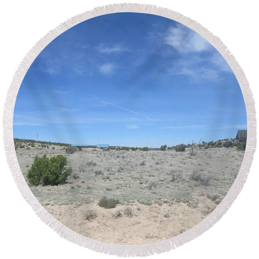 A Round Beach Towel featuring the photograph A Concho Landscape by Frederick Holiday