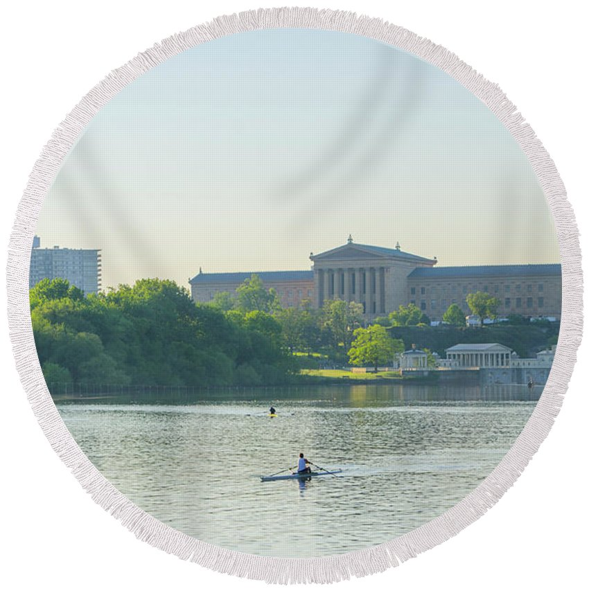 Day Round Beach Towel featuring the photograph A Day On The River - Philadelphia by Bill Cannon
