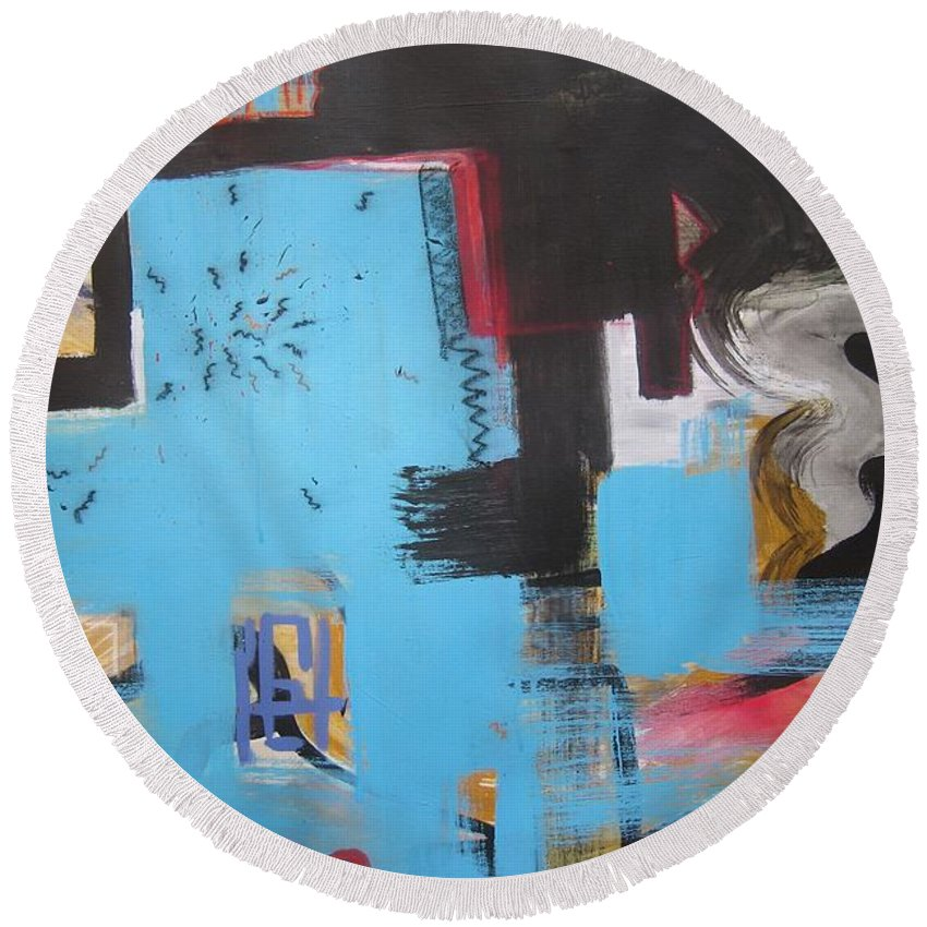 Abstract Round Beach Towel featuring the painting A False Painting by Seon-Jeong Kim