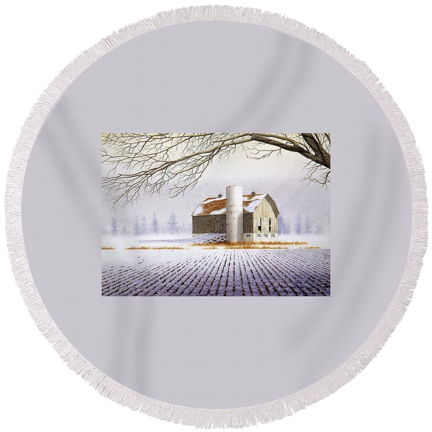 Rural Round Beach Towel featuring the painting A Far Distant Feeling by Conrad Mieschke