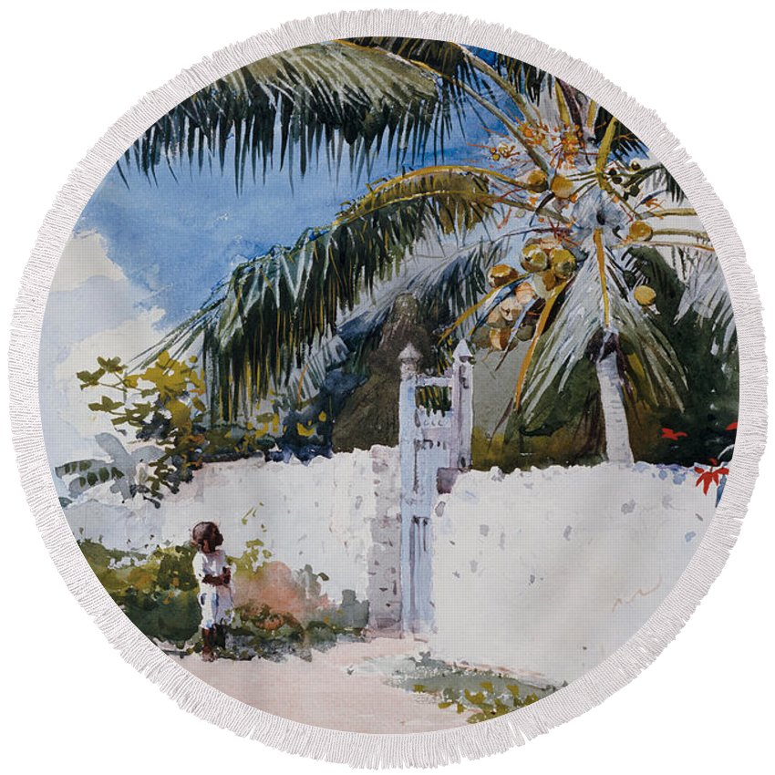 Winslow Homer Round Beach Towel featuring the painting A Garden In Nassau by Winslow Homer