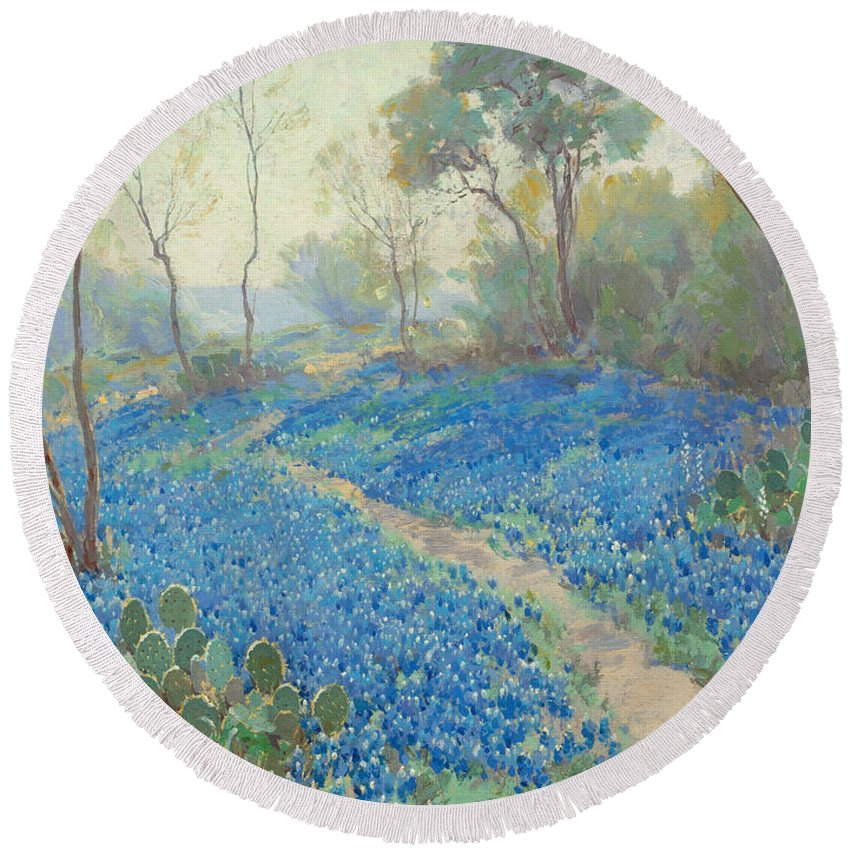 19th Century Art Round Beach Towel featuring the painting A Hillside Of Blue Bonnets - Early Morning, Near San Antonio Texas by Julian Onderdonk