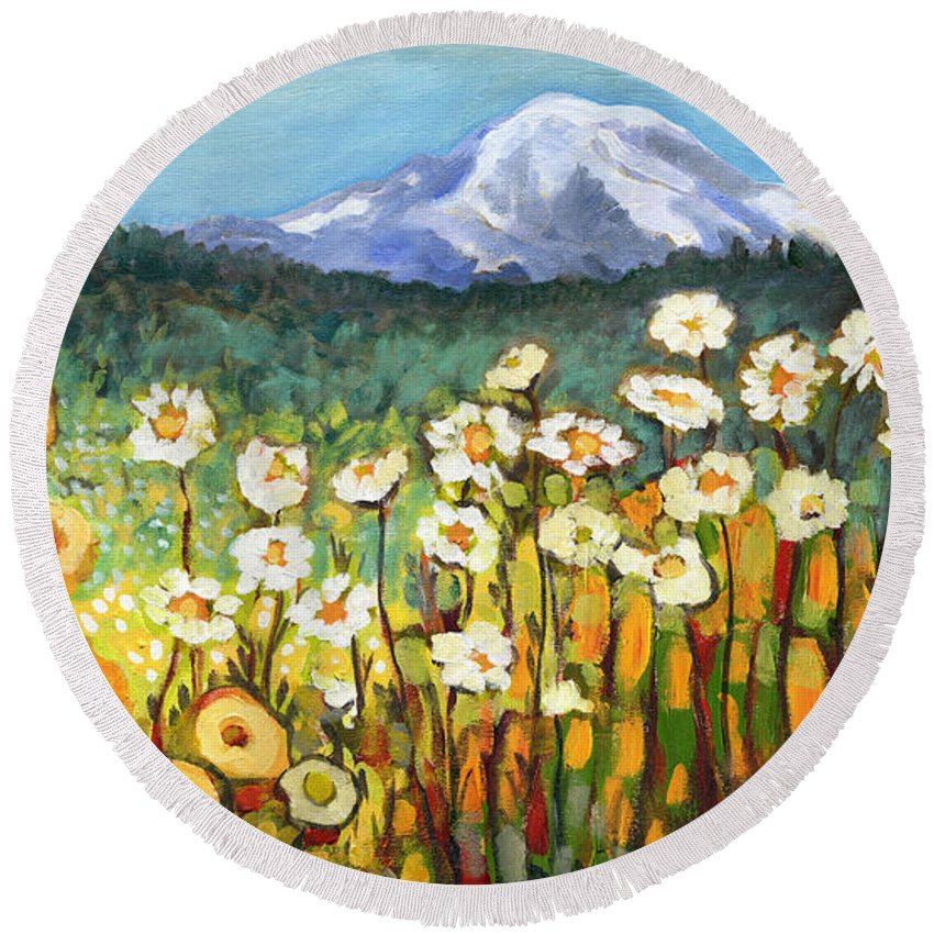 Rainier Round Beach Towel featuring the painting A Mountain View by Jennifer Lommers