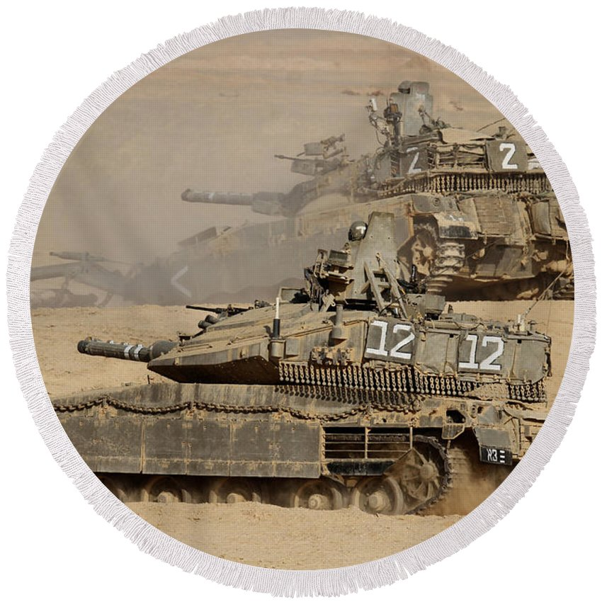 Battletank Round Beach Towel featuring the photograph A Pair Of Israel Defense Force Merkava by Ofer Zidon