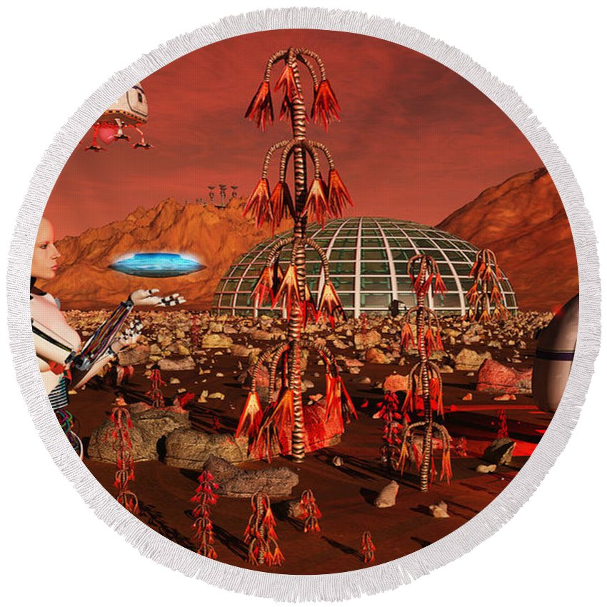 Horizontal Round Beach Towel featuring the digital art A Robot And Landing Craft Making by Mark Stevenson