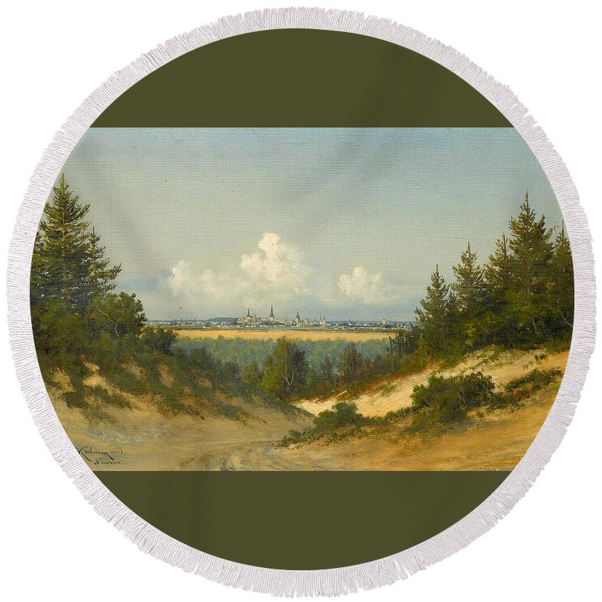 Konstantin Karlsonn (1854-1939) Round Beach Towel featuring the painting A View Of Tallinn From Nomme by MotionAge Designs