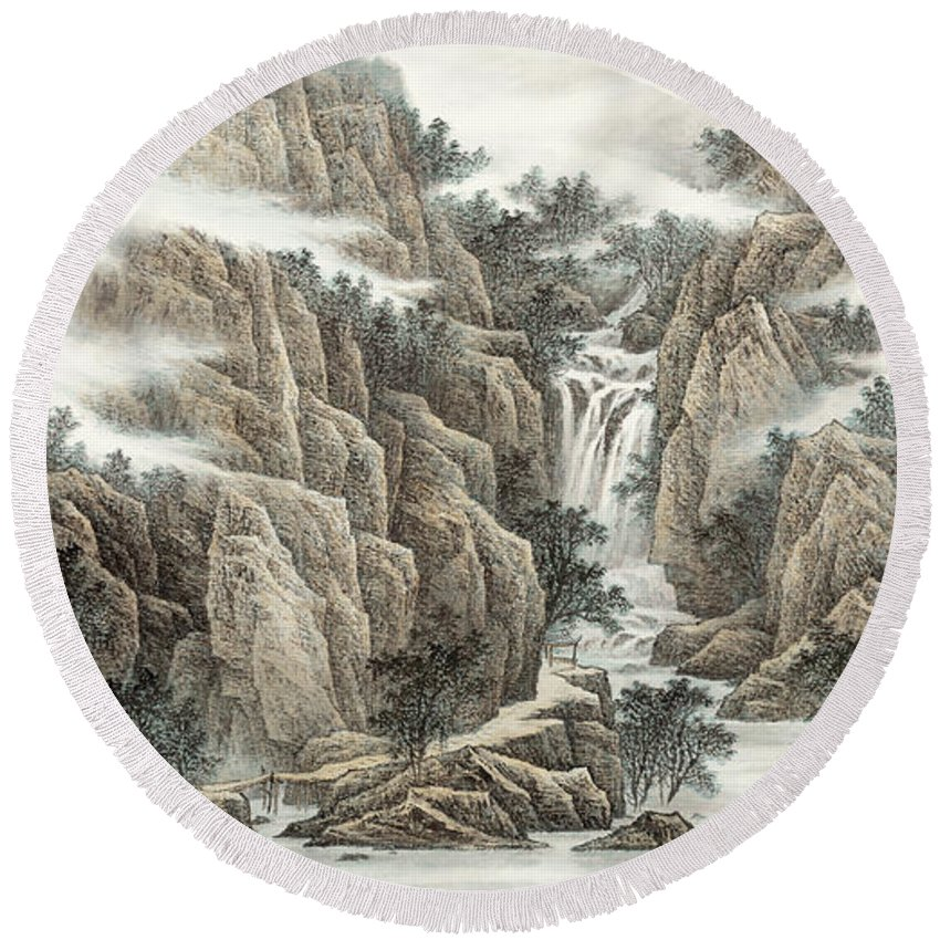 A Waterfall In The Mountains Round Beach Towel featuring the painting A Waterfall In The Mountains by Dong Xiyuan