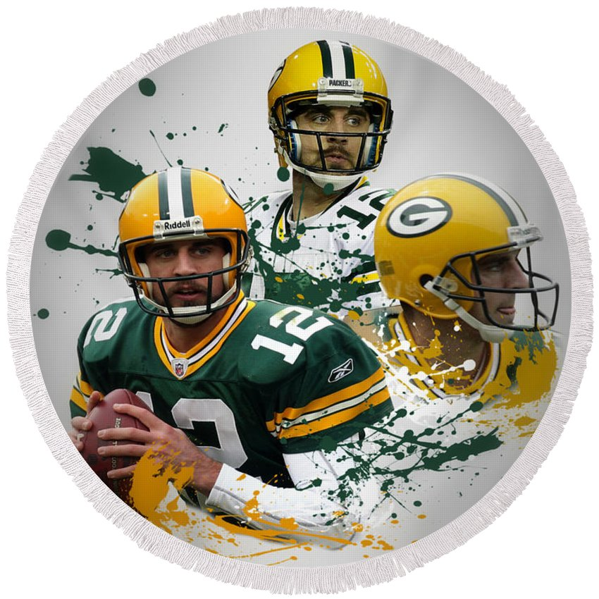 Packers Round Beach Towel featuring the photograph Aaron Rodgers Packers by Joe Hamilton