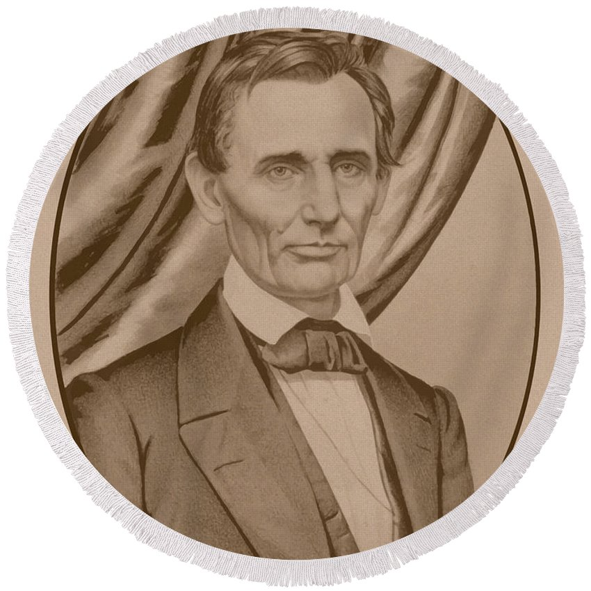 Abraham Lincoln Round Beach Towel featuring the drawing Abraham Lincoln Circa 1860 by War Is Hell Store