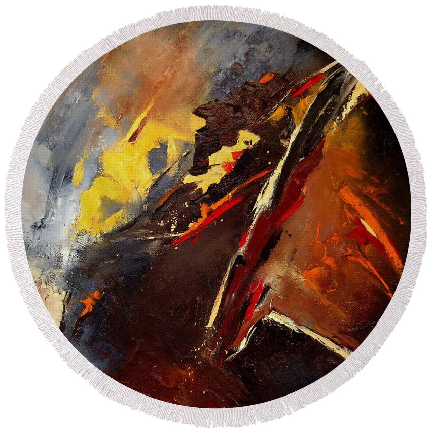 Abstract Round Beach Towel featuring the painting Abstract 12 by Pol Ledent