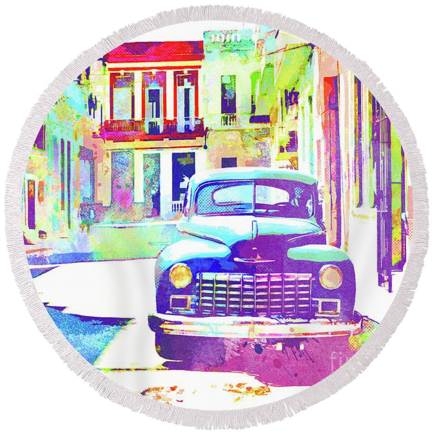 Havana Round Beach Towel featuring the painting Abstract Watercolor - Havana Cuba Classic Car IIi by Chris Andruskiewicz