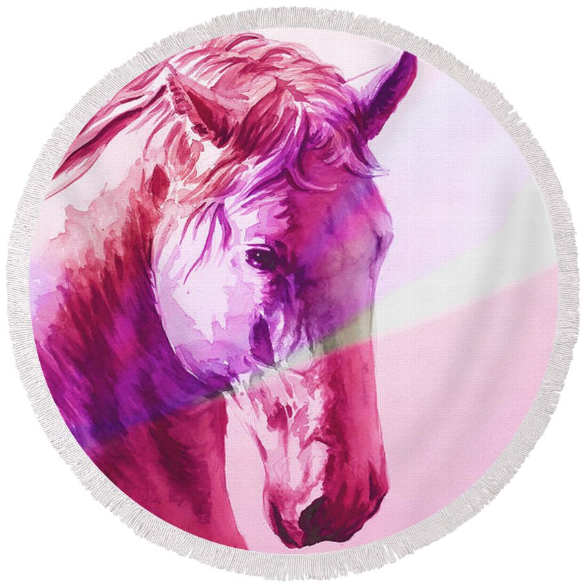 Cavallo Round Beach Towel featuring the painting E . R . O  .  S by J - O  N  E