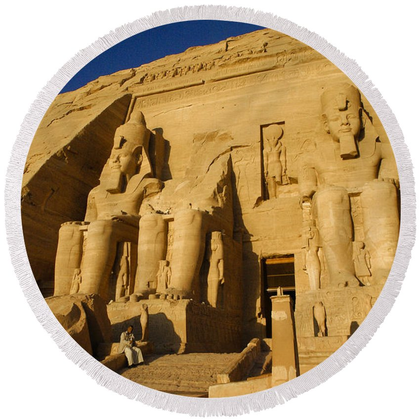 Egypt Round Beach Towel featuring the photograph Abu Simbel by Michele Burgess