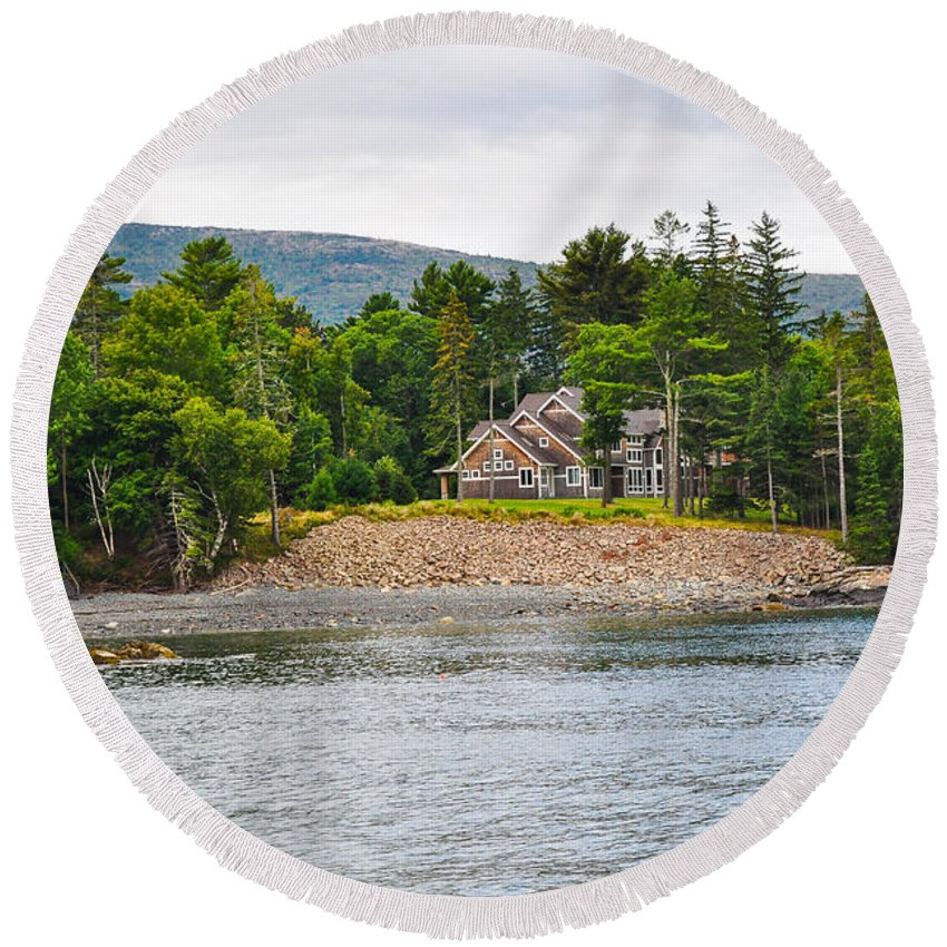 Nature Round Beach Towel featuring the photograph Coastal Acadia by Anna Serebryanik
