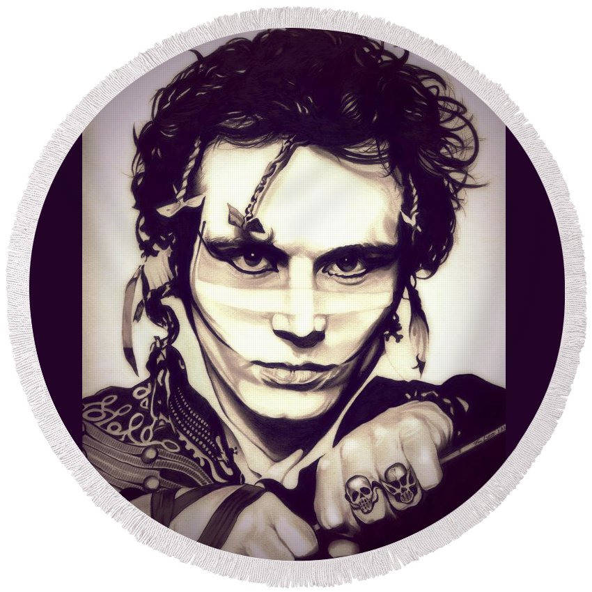 Adam Ant Round Beach Towel featuring the drawing Adam Ant by Fred Larucci