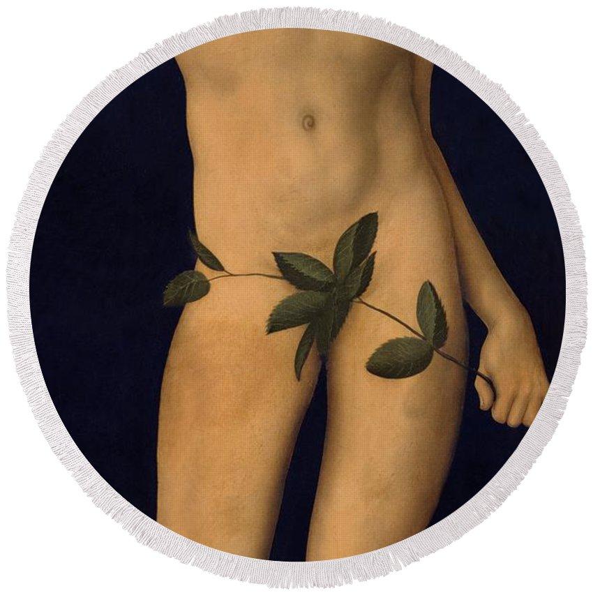 Garden Of Eden; Old Testament; Nude; Apple Round Beach Towel featuring the painting Adam by The Elder Lucas Cranach
