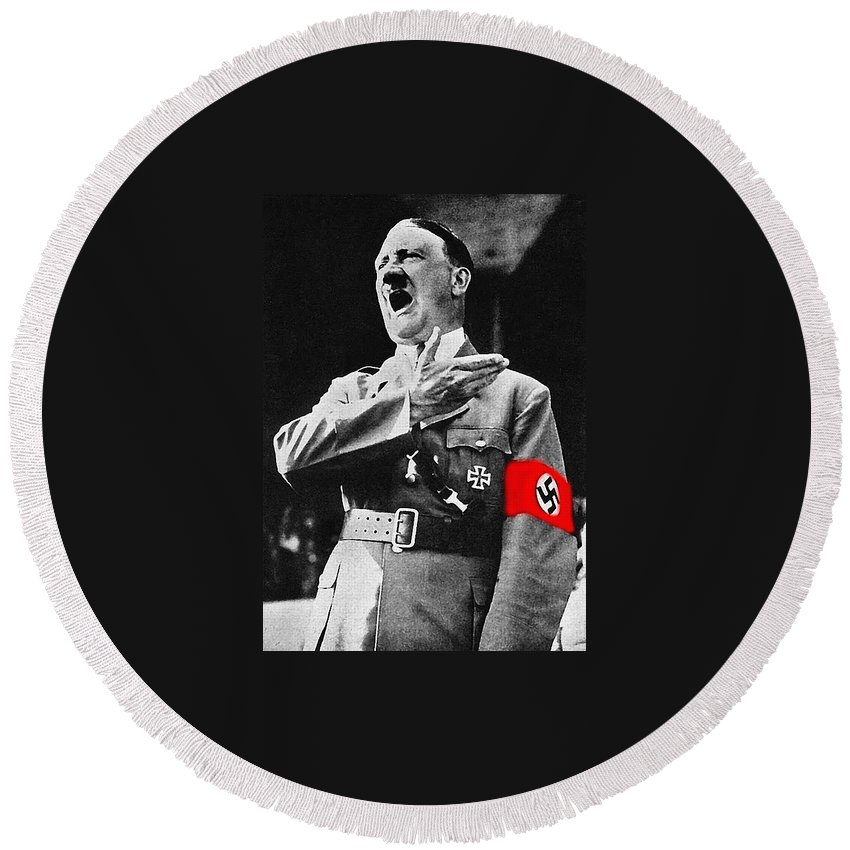 Adolf Hitler Arm Over Chest Circa 1934 Round Beach Towel featuring the photograph Adolf Hitler Arm Over Chest Circa 1934 by David Lee Guss