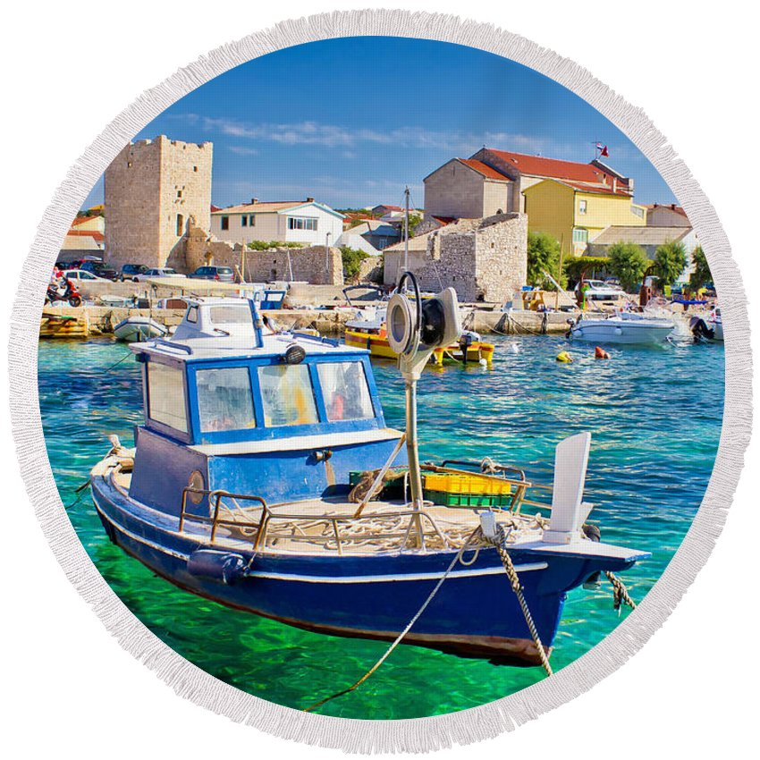 Croatia Round Beach Towel featuring the photograph Adriatic Town Of Razanac Colorful Waterfront by Brch Photography