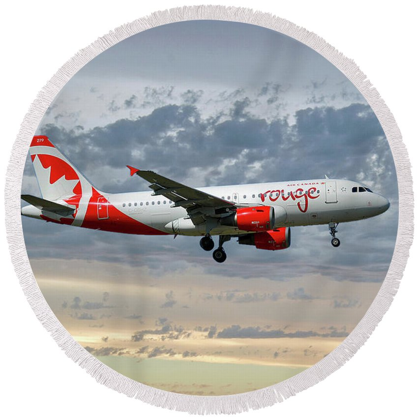 Air Canada Round Beach Towel featuring the photograph Air Canada Rouge Airbus A319-114 by Smart Aviation
