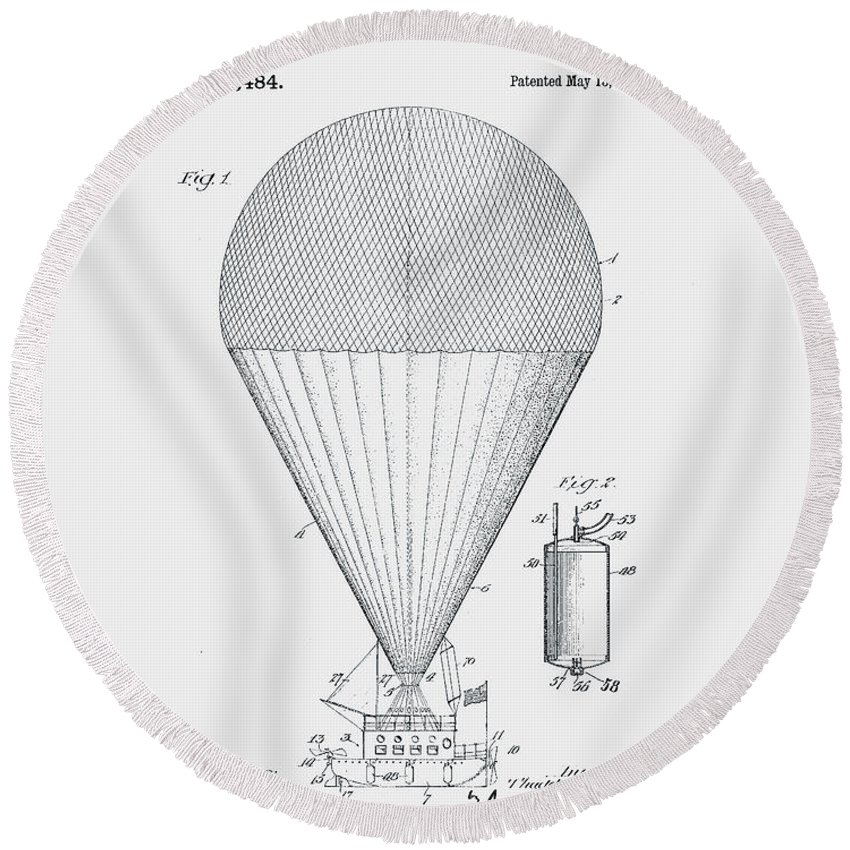 Airship Round Beach Towel featuring the photograph Airship Patent 1913 by Claire Doherty
