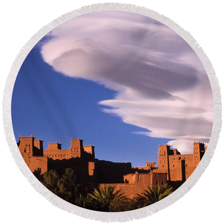 North Africa Round Beach Towel featuring the photograph Ait Benhaddou Casbah by Michele Burgess