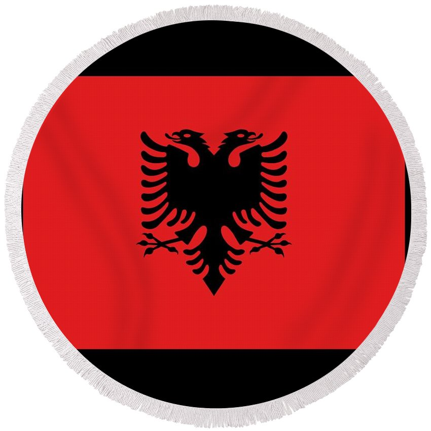Flag Round Beach Towel featuring the digital art Albania Flag by Frederick Holiday