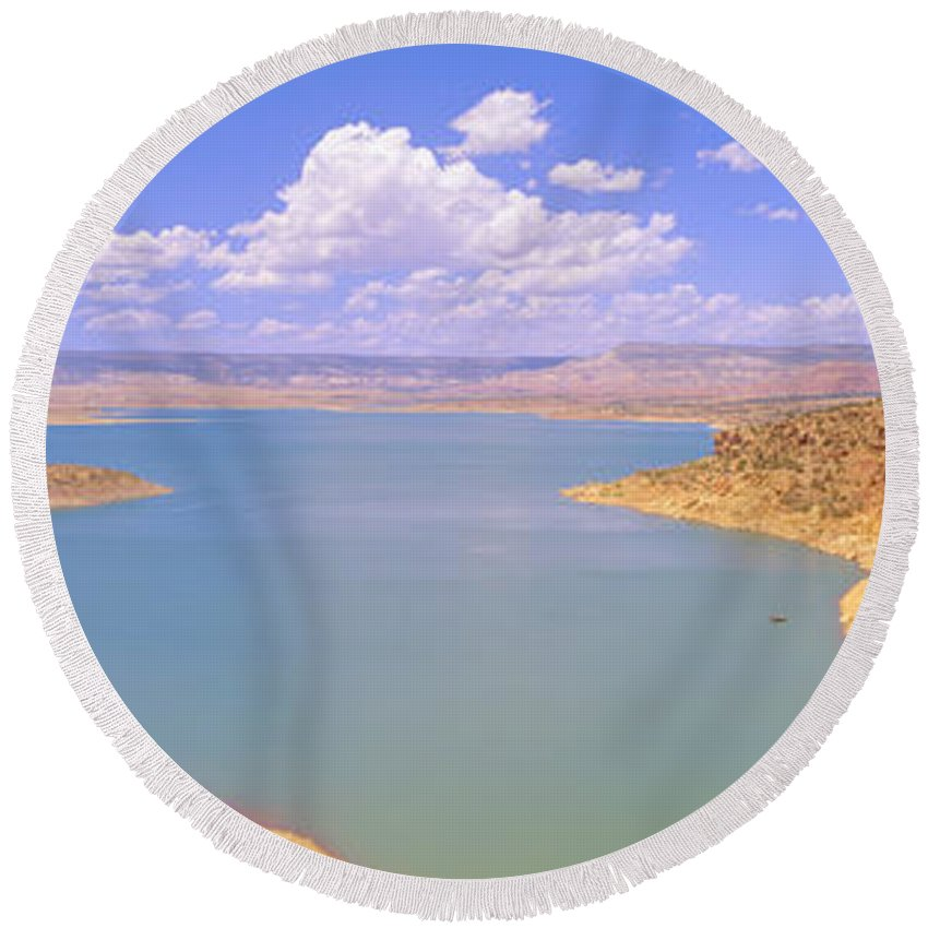 Photography Round Beach Towel featuring the photograph Albiquiu Reservoir, Route 84, New Mexico by Panoramic Images